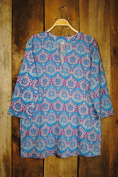 Cotton Tunic Top Bohemian Turquoise Print