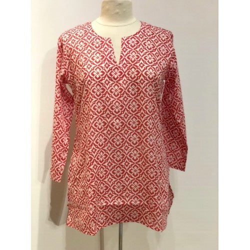 Cotton Tunic Top in Geo Red Floral