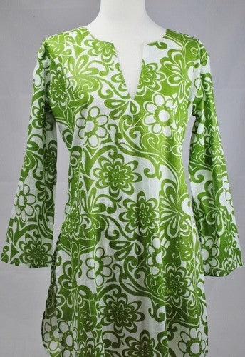 Cotton Tunic Top in Retro Green