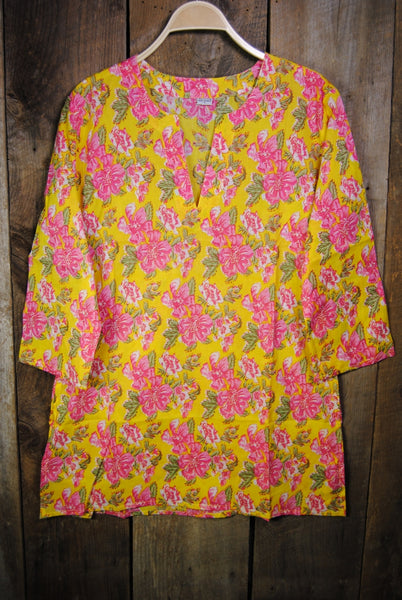 Cotton Tunic Top Marigold Yellow