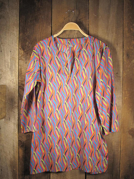 Cotton Tunic Top Multicolor Waves