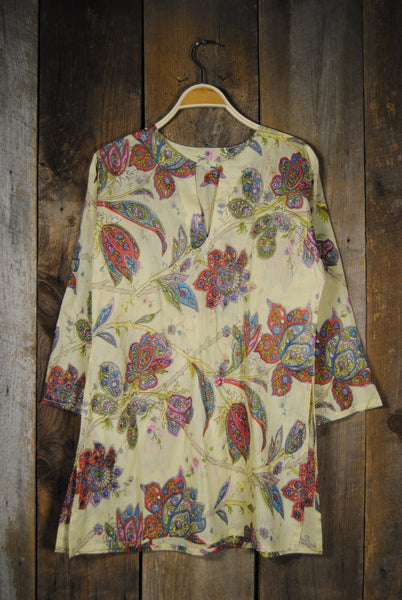 Cotton Tunic Top Vintage Floral