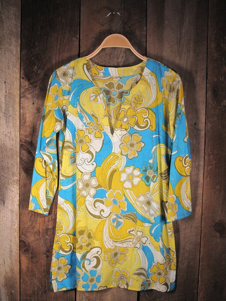 Cotton Tunic Top Yellow Blue