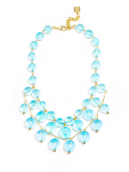 Necklace - Crystal Clear Bib Necklace - Girl Intuitive - Zenzii - Blue