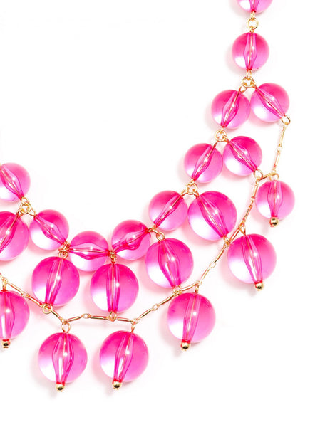 Crystal Clear Bib Necklace pink