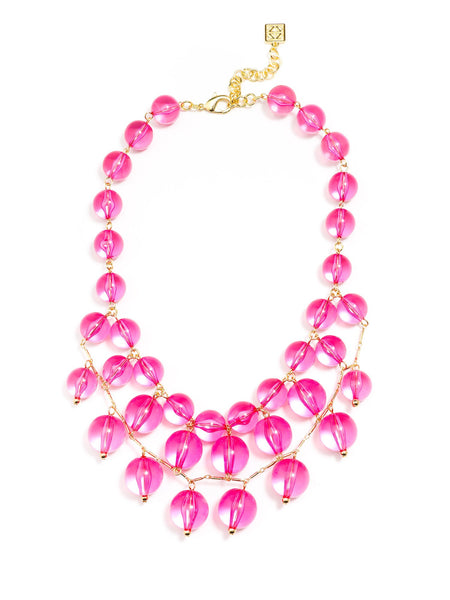 Necklace - Crystal Clear Bib Necklace - Girl Intuitive - Zenzii - Pink