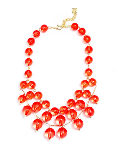 Crystal Clear Bib Necklace red