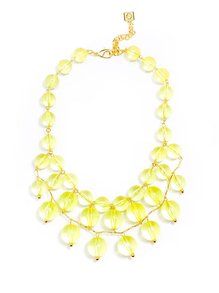 Necklace - Crystal Clear Bib Necklace - Girl Intuitive - Zenzii - Yellow