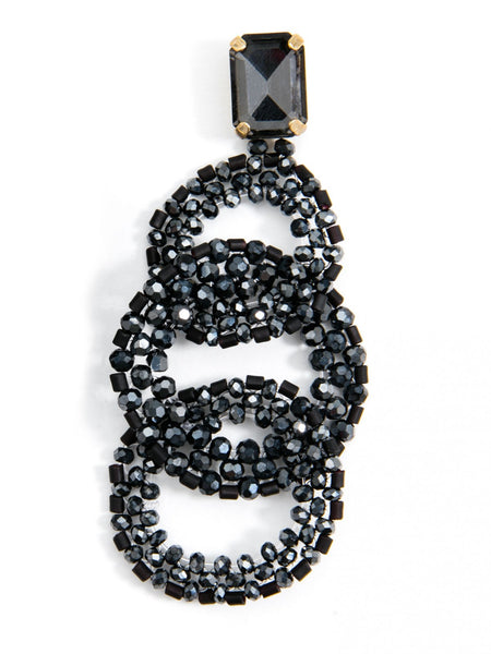 Crystal Post with Beaded Link Drop Earrings blk