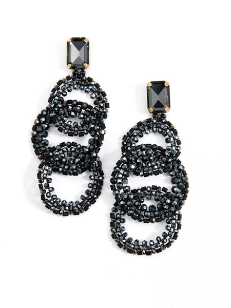 Crystal Post with Beaded Link Drop Earrings black