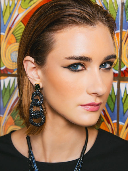 Crystal Post with Beaded Link Drop Earrings model