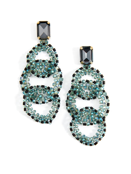Crystal Post with Beaded Link Drop Earrings teal