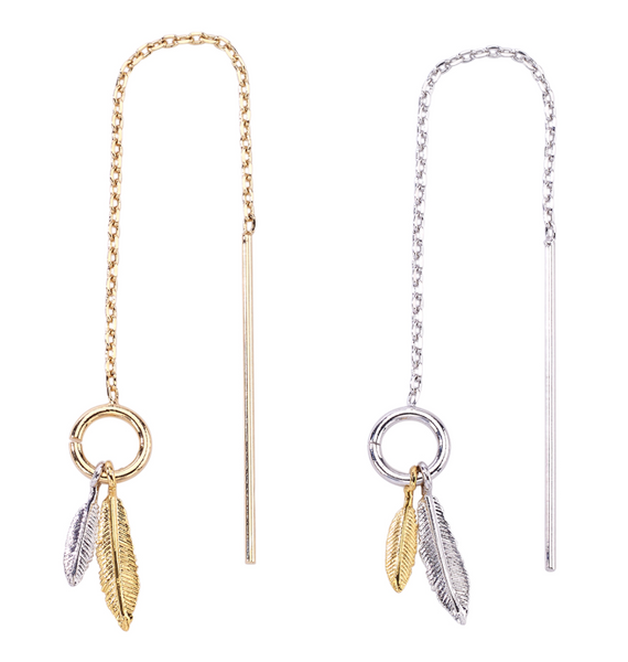 Dainty Feather Thread Through Earrings