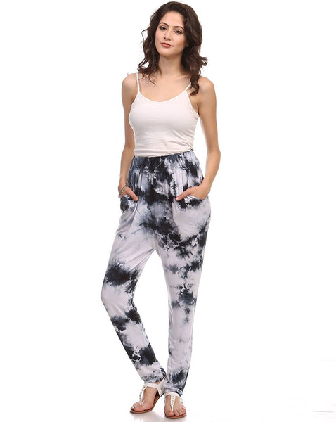 Dark Gray and White Crystal Tie Dye Joggers with Pockets