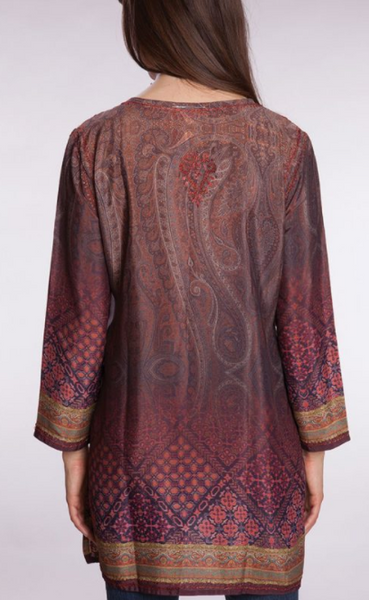 Deena Burgundy Silk Tunic Top back
