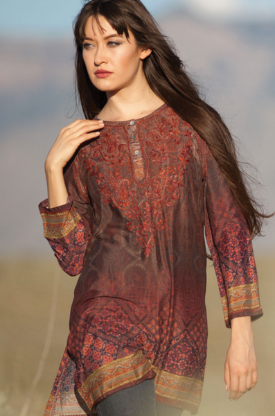 Deena Burgundy Silk Tunic Top