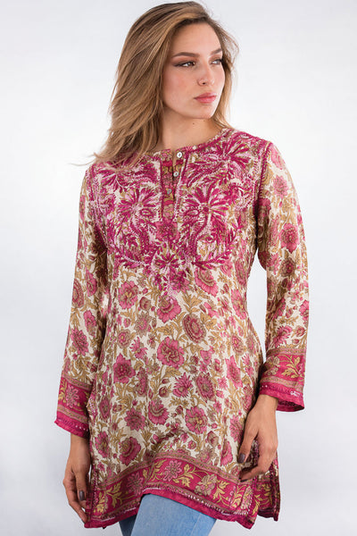 Deena Rose Silk Tunic Top front