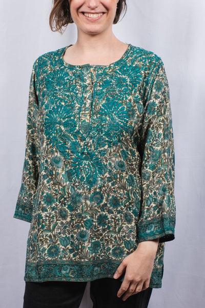 Dolma Embroidered Silk Tunic Top in Emerald