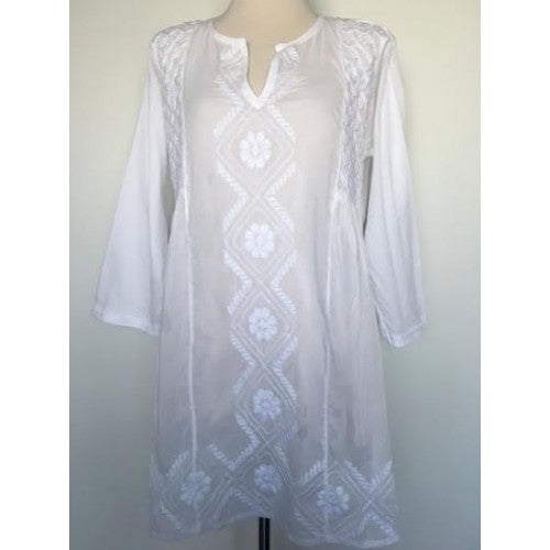 Semi-Sheer Hand Embroidered White Tunic Top