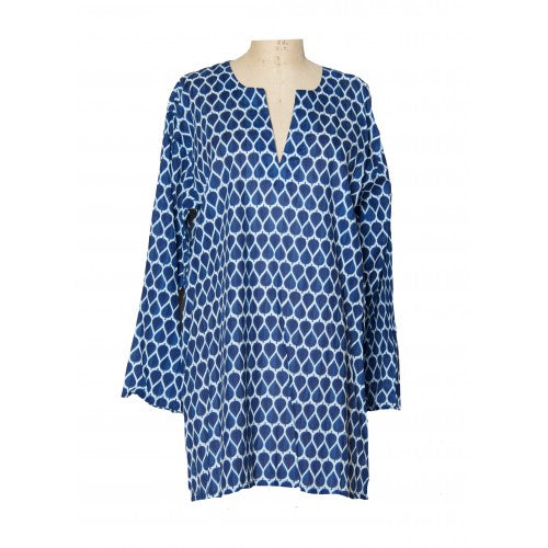 Tunic of Navy Waves Print
