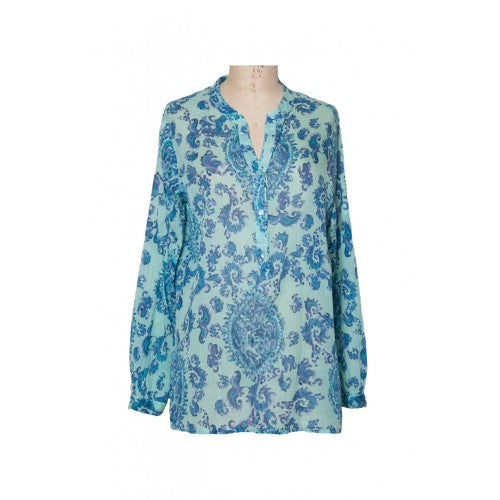 Dolma Printed Shirt in Aqua