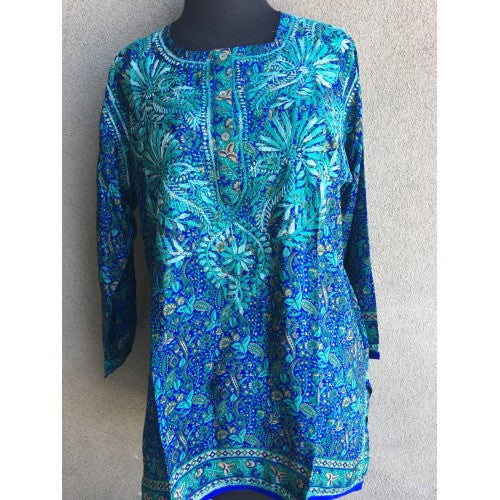 Dolma Silk Embroidered Tunic Teal