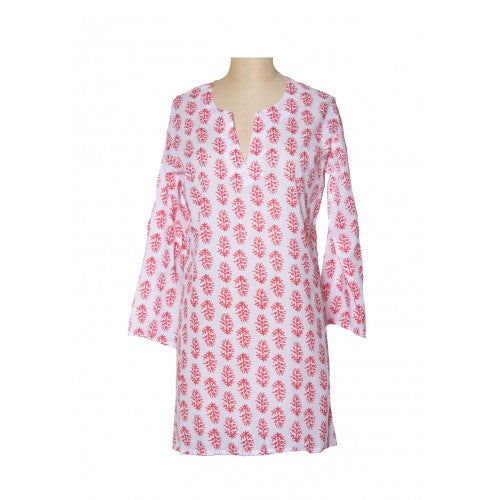 Cotton Tunic Top Corals on White