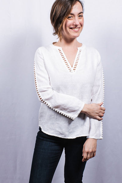 Dolma Cut-Out Linen Top