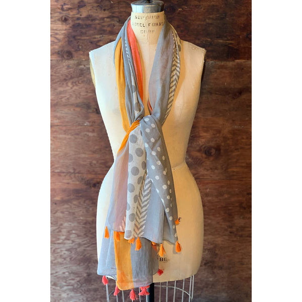 Dolma Cotton Scarf Orange Tassels