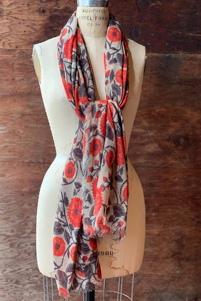 Dolma Orange Floral Wool Scarf