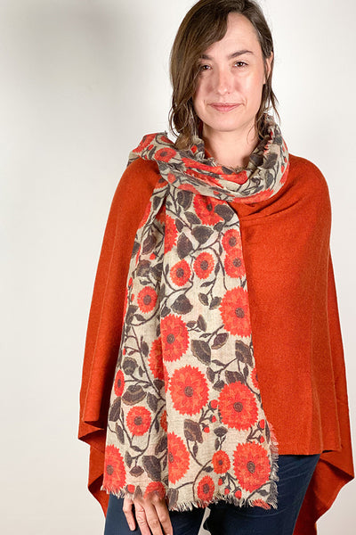 Poncho - Dolma Cashmere Poncho Burnt Orange - Girl Intuitive - Dolma -