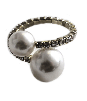 Double Pearl and Pave Halo Adjustable Ring black