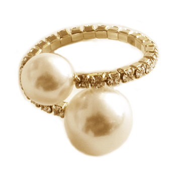 Double Pearl and Pave Halo Adjustable Ring gold