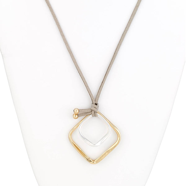 Double Square Long Leather Necklace