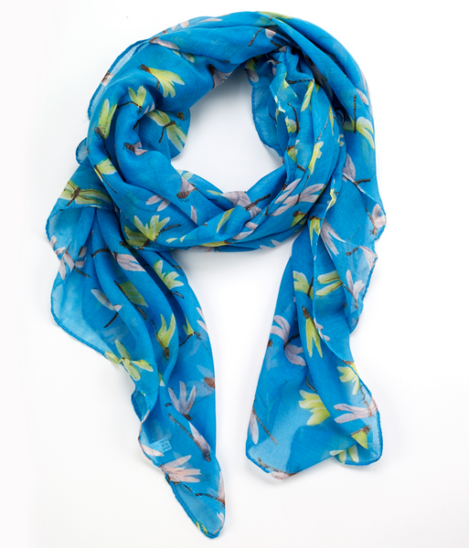 Dragonfly Printed Scarf Blue