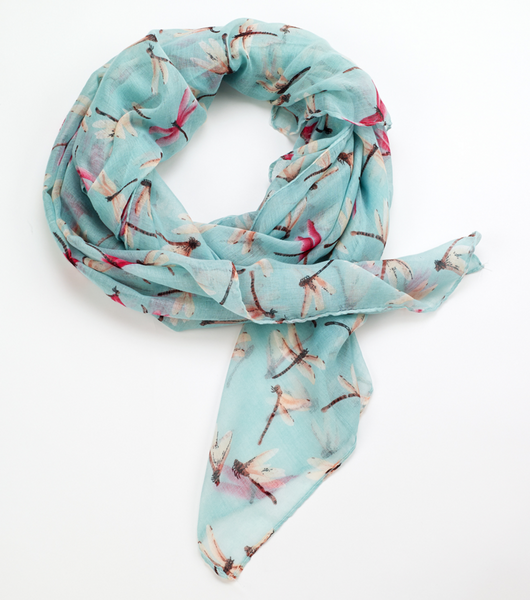 Dragonfly Printed Scarf Green