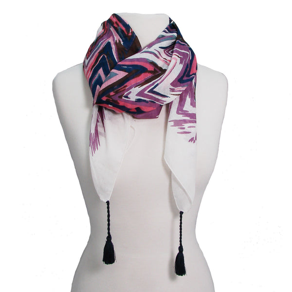 Flamestitch Scarf Pink draped
