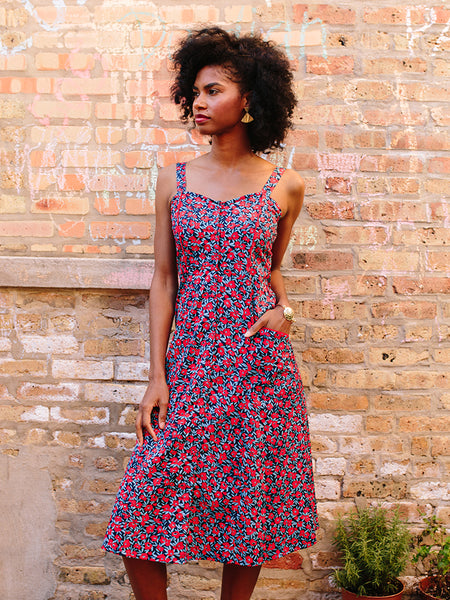 Mata Traders Aloha Midi Dress Red Poppies
