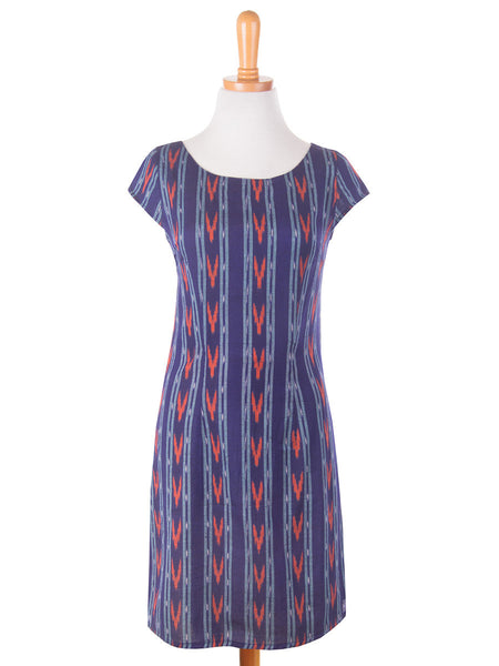 Ikat Mini Dress Blue f