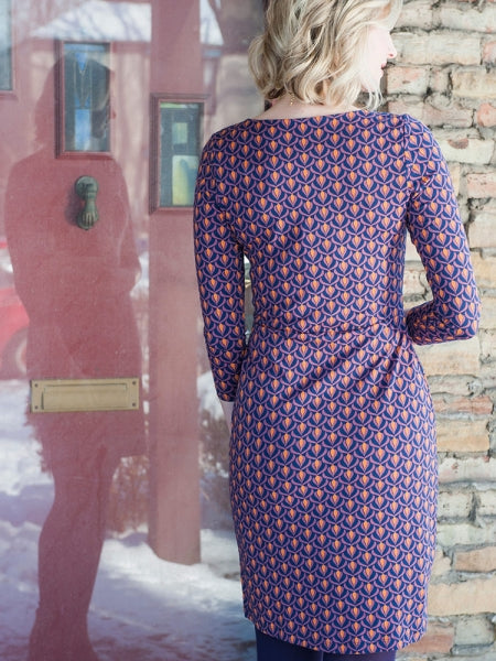 Mata Traders Knit Sheath Dress Plum Bloom