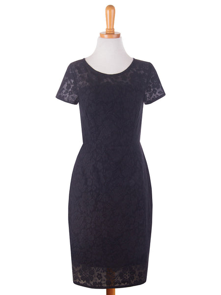 Lace Overlay Dress Black f