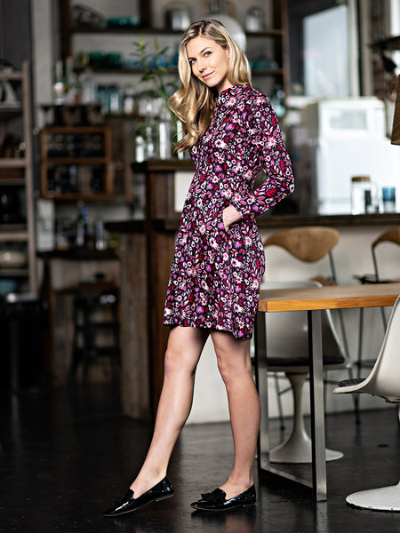 Mata Traders Mandarin Shirtdress Fuchsia