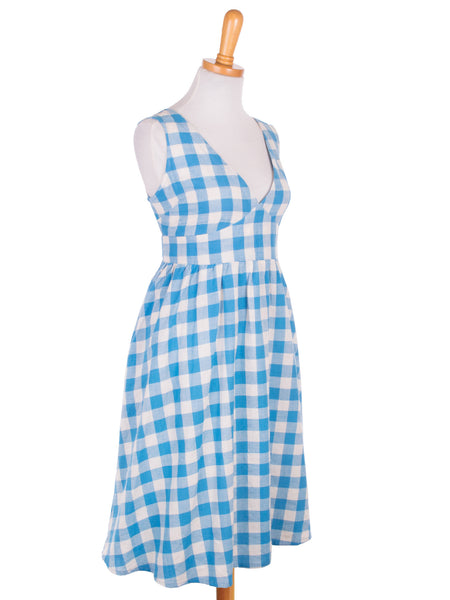 gingham dress in blue side