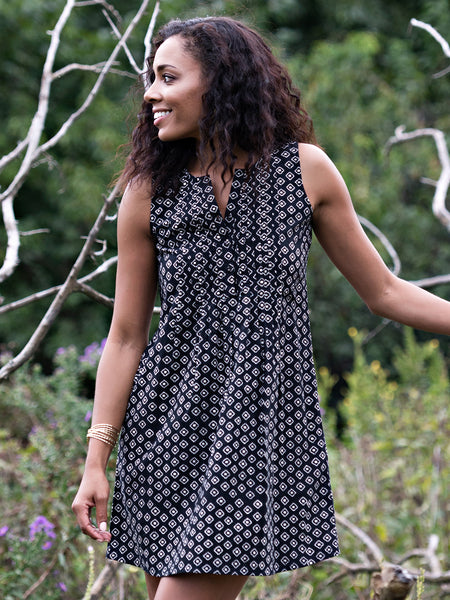 Mata Traders Pintucked Away Dress Black