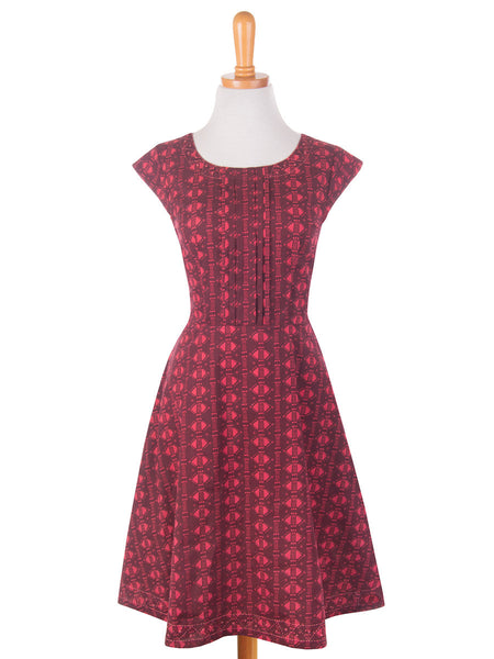 Pleated Panel Dress Red front