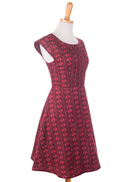 Pleated Panel Dress Red s