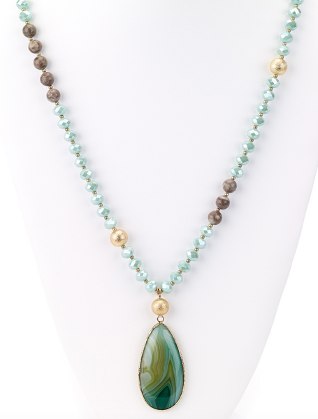 Drop Green Agate Stone Pendant Long Necklace