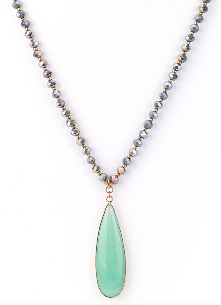 Drop Mint Agate Stone Pendant Necklace