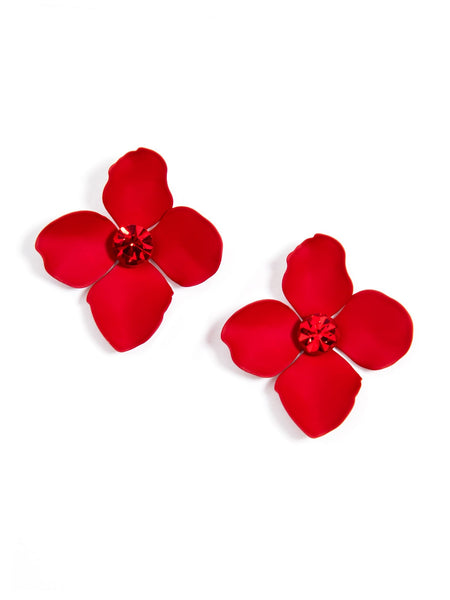 Flower Statement Stud Earrings red