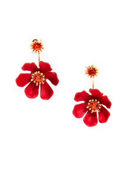Flower Party Floating Earrings red